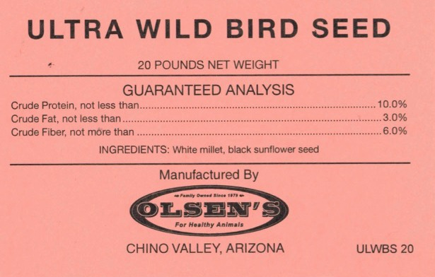 Ultra Wild Bird Seed 20# Mill Tag
