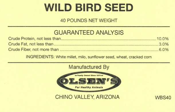 wild bird seed 40 # Mill Tag