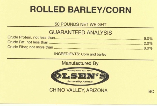 Rolled Barley Corn 50 # Mill Tag