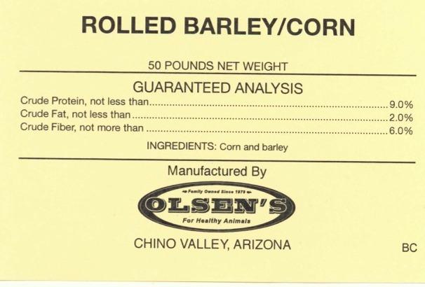 Rolled Barley Corn 50 # Mill Tag