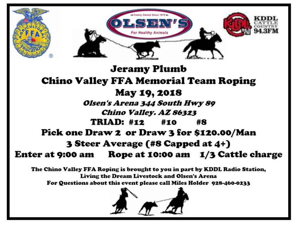 Chino Valley FFA Memorial Team Roping for Jeramy Plumb