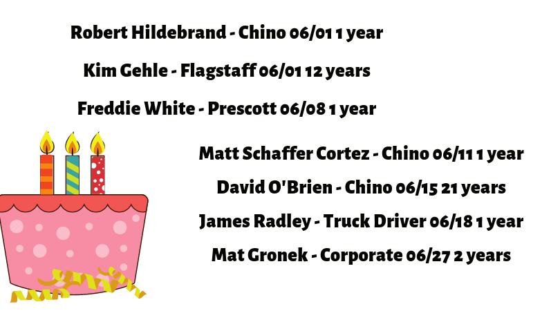 June 2019 Employee Birthdays and Anniversaries