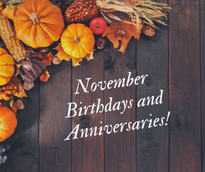 November Employee Birthdays and Anniversaries
